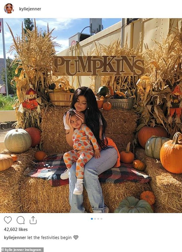 Trick or treat: Kylie shared this loving photo with Stormi to Instagram on Wednesday