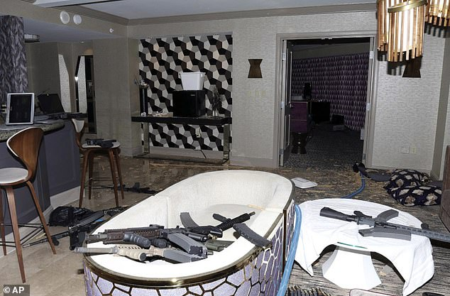 In 2016, Paddock began purchasing guns and Danley said her relationship with him became more 'subservient', telling investigators she was also expected to accompany him to the gun range. Pictured: The interior of Paddock's 32nd floor hotel room of the Mandalay Bay hotel in Las Vegas after the mass shooting