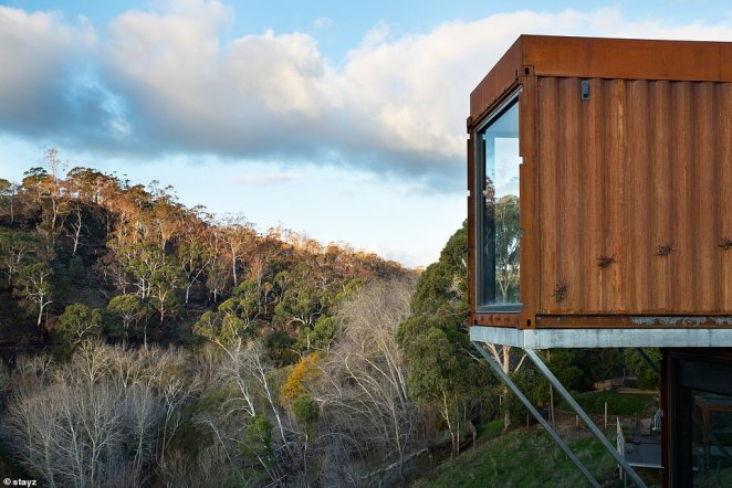 A luxury shipping container villa (pictured) has taken out top gong at the annual Stayz Holiday Home of the Year awards after receiving the coveted People's Choice award
