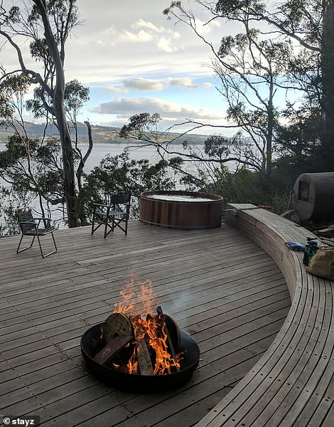The home was architect designed and purpose built and features include a wood fired sauna, Sea Water Timber Hot Tub and a relaxing fire pit overlooking the ocean and Bruny Island