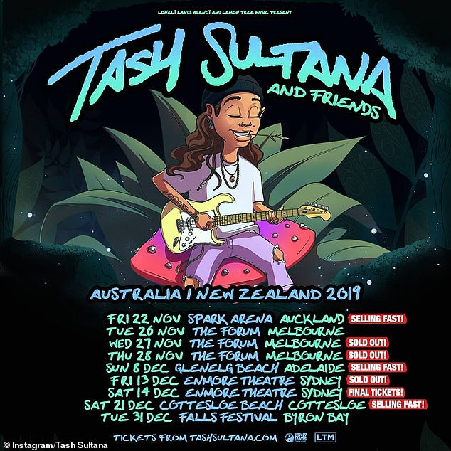 The last leg: Tash's last scheduled show is at Falls Festival in Byron Bay on New Year's Eve, although her caption hinted at a final show in her hometown of Melbourne