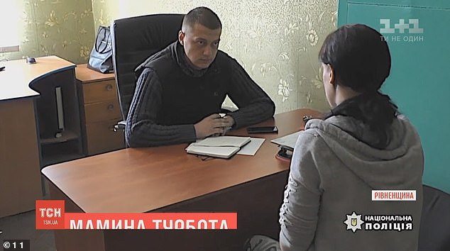 Police launched a criminal case for battery and failure to fulfil parental duties against the teenage mother (pictured being interviewed by an officer)