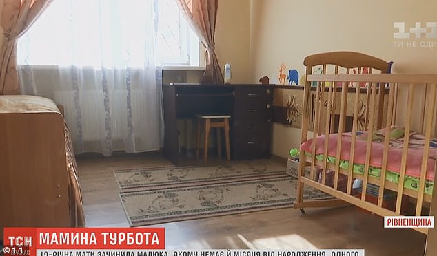 The crib in a social housing hostel inRivne where neighbours said they found babyMykyta suffering from horrific injuries