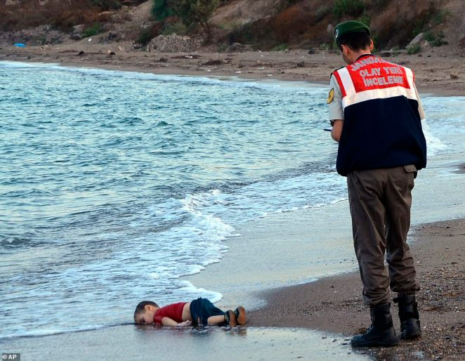The lifeless body of 3-year-old Aylan Kurdi from the sea shore, near the beach resort of Bodrum, Turkey, on September 2, 2015. A number of migrants were known to have died and some were reported missing, after boats carrying them to the Greek island of Kos capsized.The picture taken by Turkish journalist Nilufer Demir was posted on social media, causing a massive surge in donations to charities helping migrants and refugees, with one charity, the Migrant Offshore Aid Station, recording a 15-fold increase in donations within 24 hours of its publication.An overwhelming 96 per cent of the people polled insisted journalists should show an image which shocks us, if it changes the world or the way we think about the world
