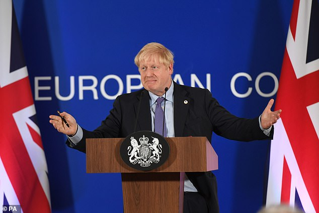 Prime Minister Boris Johnson speaking at the European Council summit at EU headquarters in Brussels, October 17