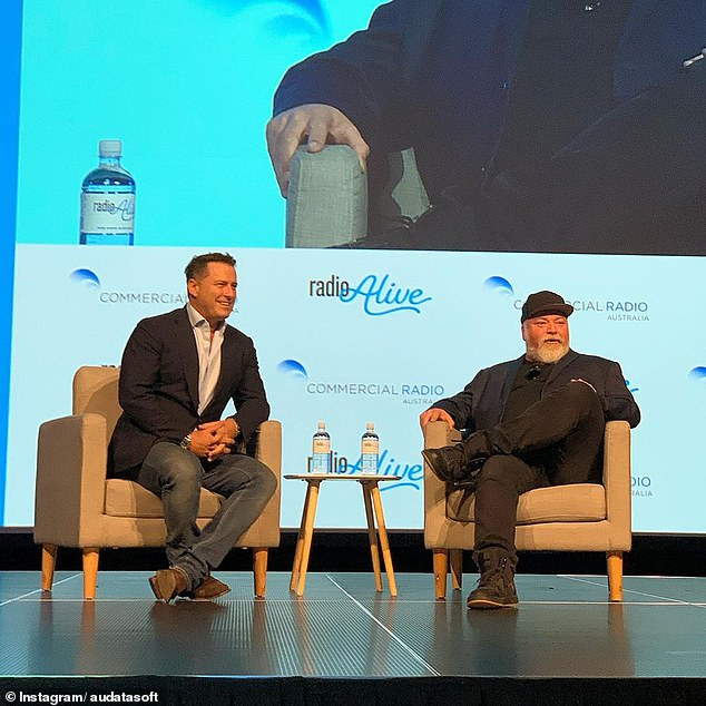 Taking a swipe: Karl Stefanovic (left) lashed out at Kyle Sandilands (right) at the Radio Alive conference in Brisbane on Friday