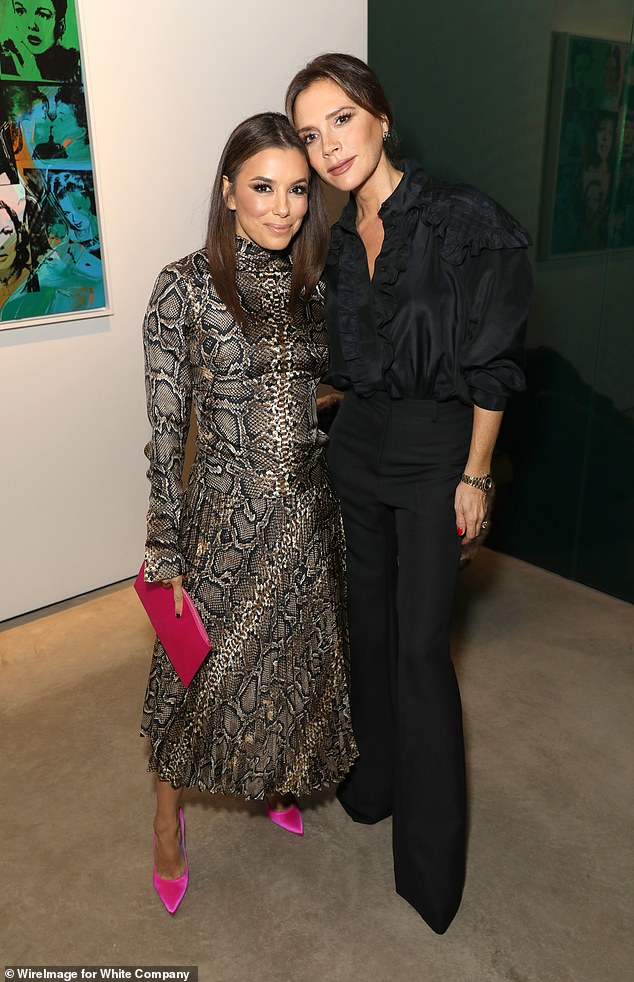 Helping hand:Eva Longoria, 44, has revealed that close pal Victoria Beckham, 45, is 'one of the first people she turns to' for parenting advice (pictured together last month)