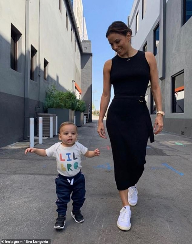 Proud parent: Eva welcomed her first child with her husband Jose Baston, who is the president of Televisa, the largest media company in Latin America, in June 2018