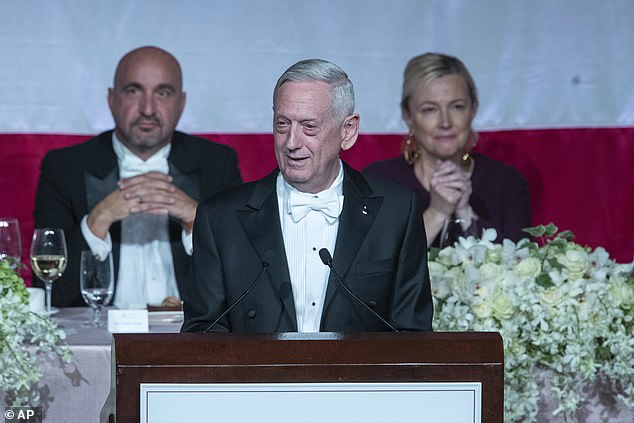 General James 'Mad Dog' Mattis, Trump's former defense secretary, launched a similarly withering assault on his old boss. He spoke out after Trump told a meeting of members of Congress at the White House on Wednesday that Mattis was 'the world's most overrated general', 'wasn't tough enough,' and went onto say: 'I captured ISIS' (pictured at the 74th Annual Alfred E. Smith Memorial Foundation Dinner, Thursday)