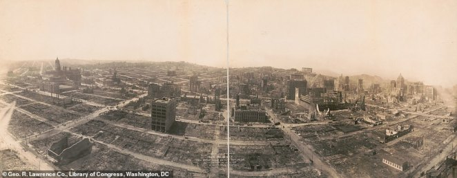 Another image taken by George R Lawrence of San Francisco in 1906 after the earthquake. This image was taken around 1,900ft above the waterfront using his 'Captive Airship'