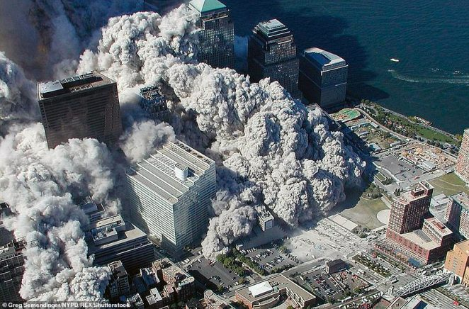 A New York Police Department photo of the 9/11 attack on New York's Twin Towers. This image caught the aftermath of one of the towers collapsing