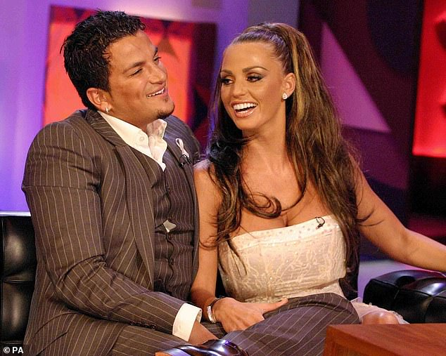 That was then: She met her husband Peter on I'm A Celeb, where she won legions of fans, however the couple split up in 2009 (pictured in 2005)