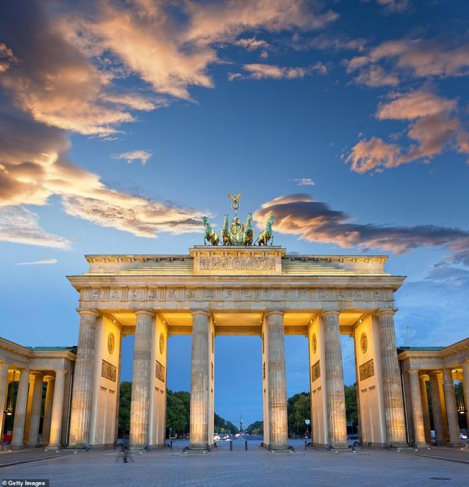 Jeremy said it was it was a treat to revisit the Brandenburg Gate 'without the crowd of one million drunk Germans' who were there on his last visit