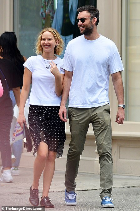 New love: Jennifer Lawrence is seen with Cooke Maroney in New York back in June 2018 on one of their first dates
