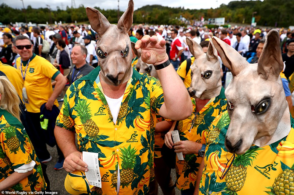 Australia fans - dressed up as Wallabies - enjoy the pre-match atmosphere prior to the Rugby World Cup 2019 Quarter Final
