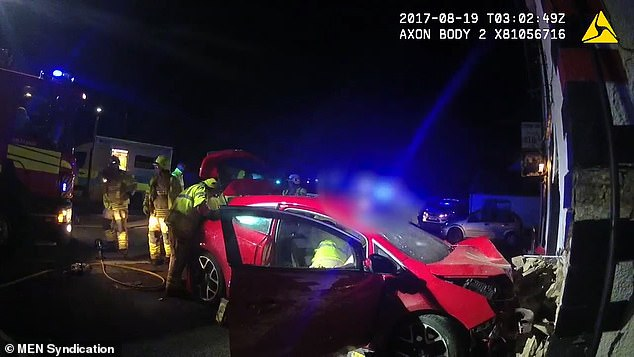 A crash investigator later concluded Thomas had lost control on a left hand bend and mounted a grass verge and hit a road sign before crossing the carriageway and crashing into the pub wall