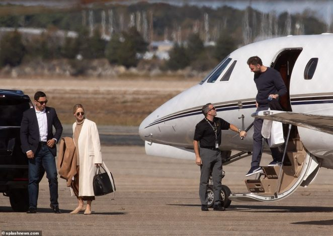 Cooke Maroney followed close behind, stepping off the jet after the couple's brief flight from New York City