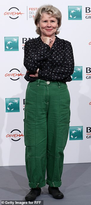 Lovely: Downton Abbey star Imelda Staunton was effortlessly chic in green combat trousers on Saturday