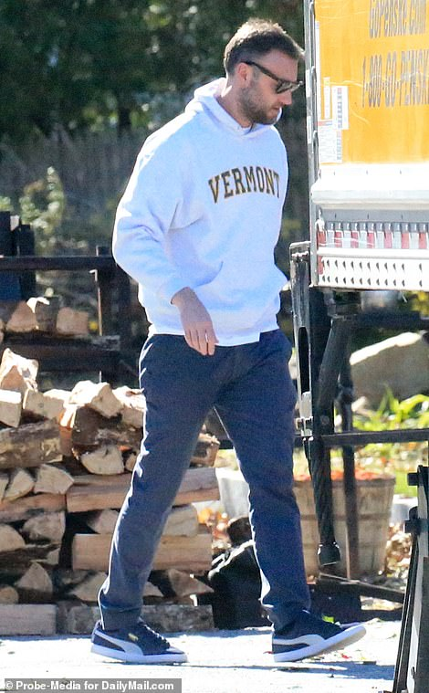 Maroney was casually dressed in a Vermont hoodie and sunglasses