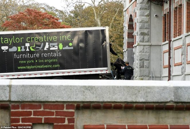 Preparations?: A furniture rental truck was pictured this week arriving at the opulent historic property and being unloaded ahead of the big day