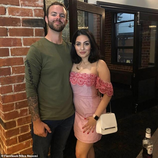 Nilsa Nazemi (right) and her partner Will Sandry (left) were asleep in their property at Embleton in Western Australia on Friday when the two petrol bombs were thrown at 2am