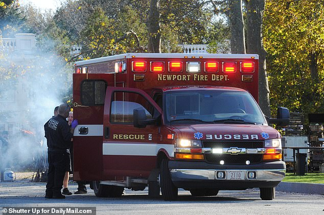 An ambulance was spotted arriving at Belcourt Castle in Rhode Island where Jennifer Lawrence's Wedding is happening on Saturday