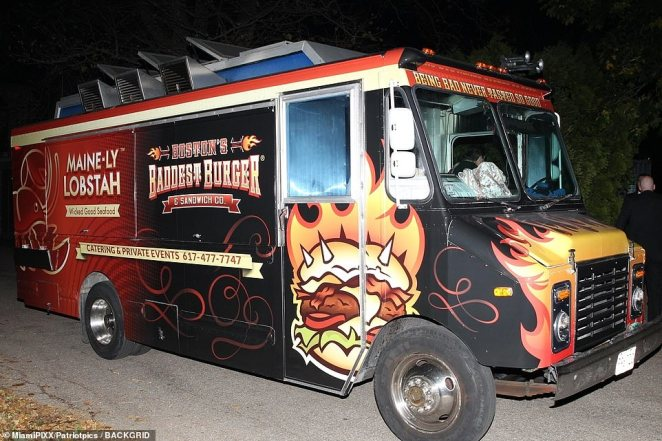A food truck arriving at Jennifer Lawrence and Cooke Maroney's wedding at the castle