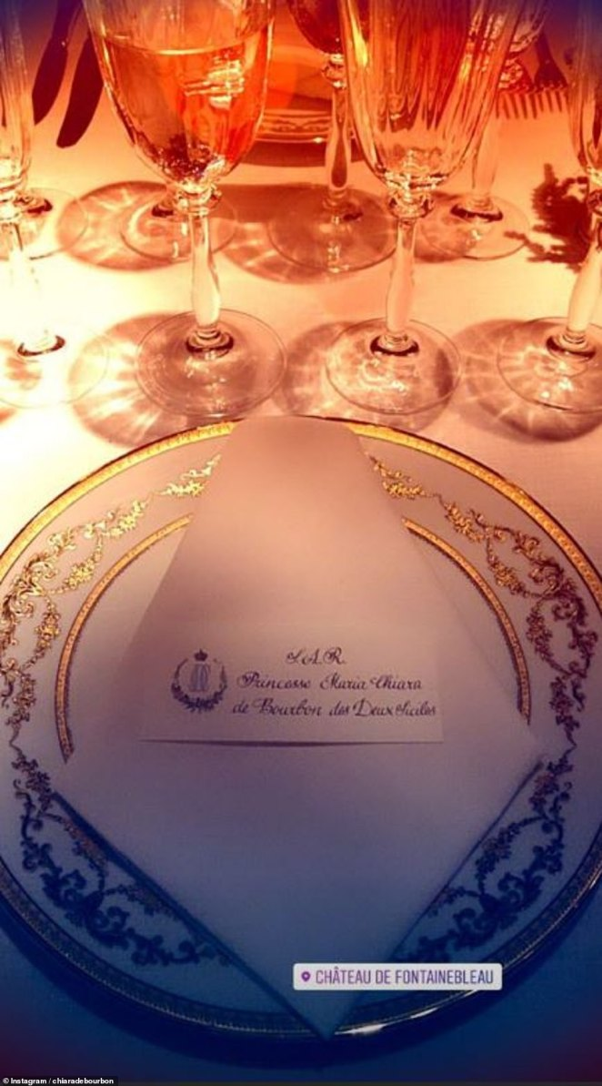 Maria-Chiara de Bourbon, one of Jean-Christophe's cousins, 14, shared snaps of of the dinner table on Instagram