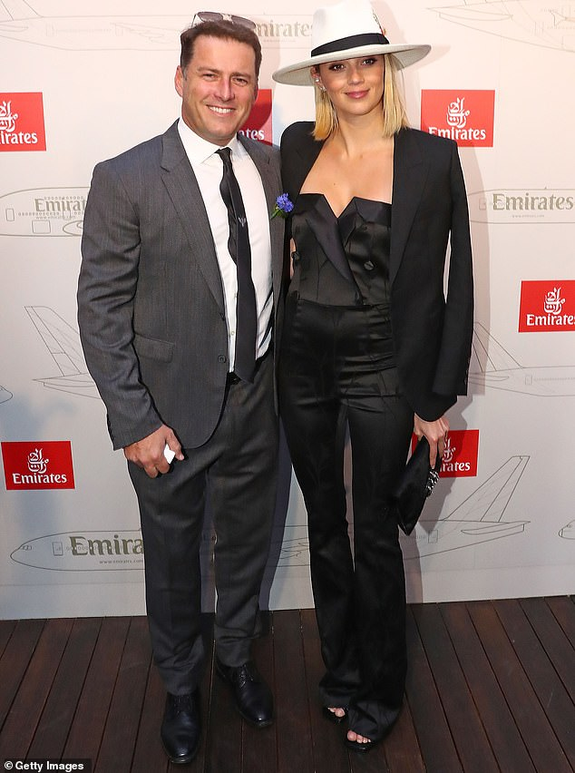 Nuptials: Jetting back home from Karl Stefanovic's wedding to Jasmine Yarbrough (both pictured in 2017), the TV presenter appeared downcast after a weekend of VIP treatment