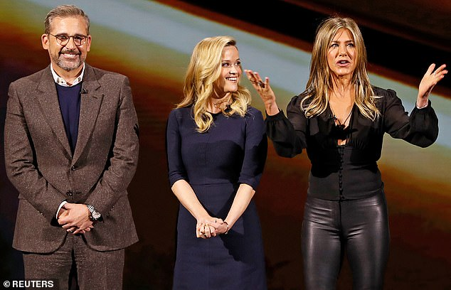 The cast:Steve Carell, Reese, and Jennifer Aniston all smile during the Apple special event to promote their new series, The Morning Show