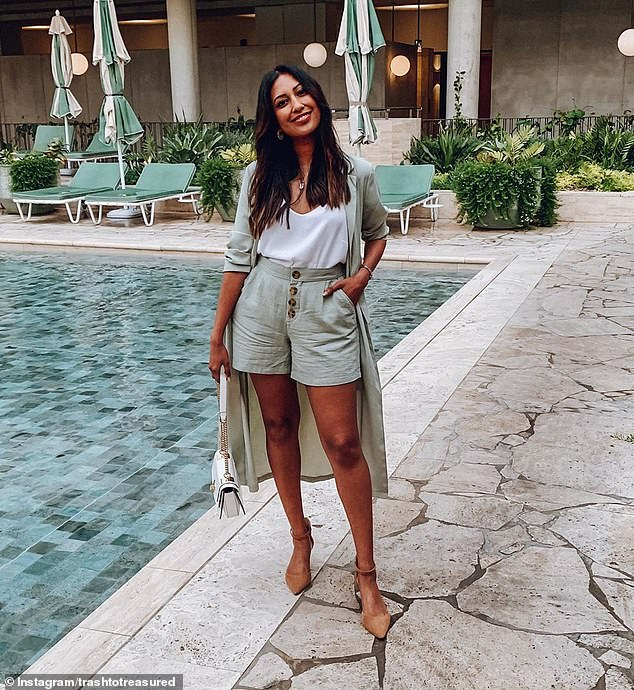 A group of social media savvy women have taken Kmart from failing bargain brand to Australia's one-stop shop for fashion and homewares, thanks to creative content creation and smart styling (pictured, affordable fashion blogger Tina Abeysekara in a Kmart twin-set)