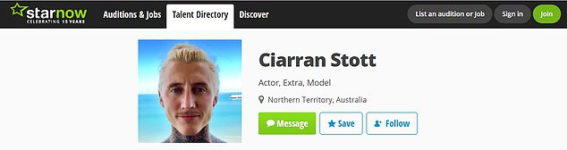 Looking for work? Former stripper Ciarran Stott also has an acting past, and lists himself as an 'actor, extra and model' on StarNow (pictured)
