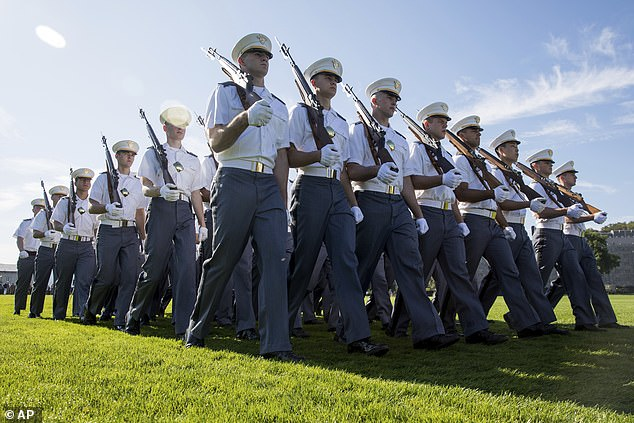 West Point cadets march in a Pass-in-Review ceremony at the United States Military Academy, Saturday, Sept 21, 2019. The missing cadet (not pictured) failed to show up for a scheduled road march on Friday evening before the school launched an 'extensive search' which involved the deployment of helicopters, dog units and drones