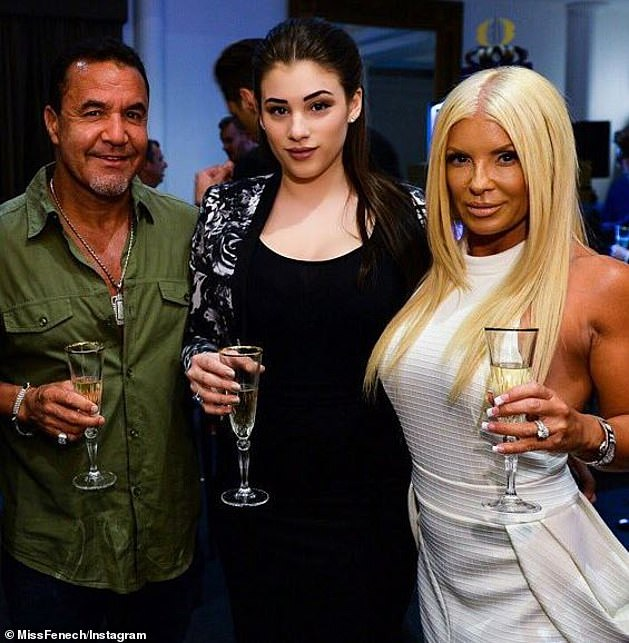 Fenech (left) was initially devastated he was unable to walk his daughter Jess (centre) down the isle (right: wife Suzee)