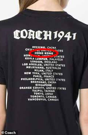 Coach marked Beijing and Shanghai as Chinese cities but listed Hong Kong as a separate entity on some T-shirts last year