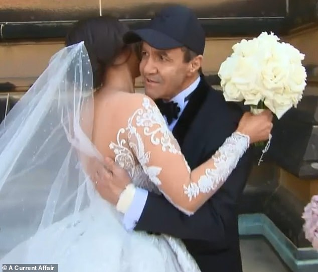 Jeff Fenech's eldest daughter Jess fought back tears as she embraced her father, before he walked her down the aisle in front of 300 guests in Sydney on Saturday