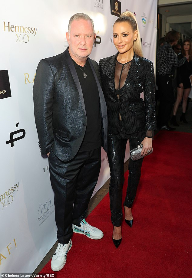 Party time:Real Housewives Of Beverly Hills star Dorit Kemsley and husband PK were among celebrities atGladys Knight's 75th birthday bash on Sunday