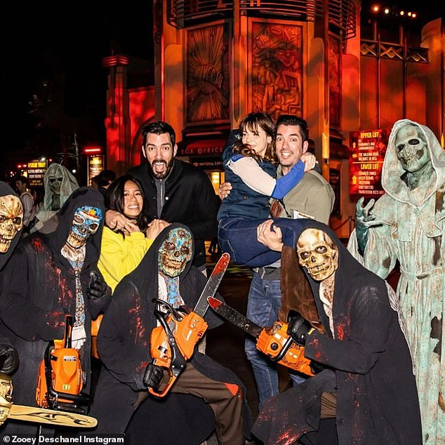 Sweethearts: The 39-year-old actress jumped into the arms of her reality star beau at Universal Studios' frightening Halloween Horror Nights in Los Angeles