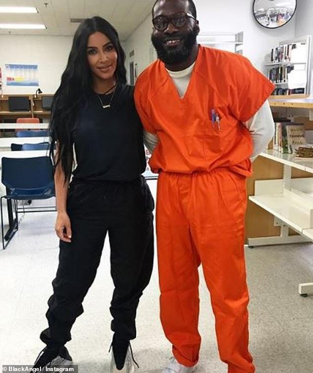 Déterminé: Kim a longtemps fait campagne pour la réforme des prisons, et l'année dernière, Momolu Stewart s'est libéré après avoir rencontré la star.  Elle a également écrit une lettre pour appuyer son appel