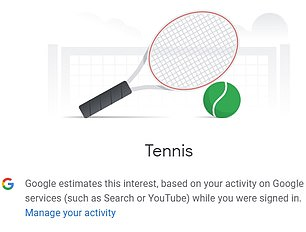 Among other possible likes listed by the tech giant were tennis