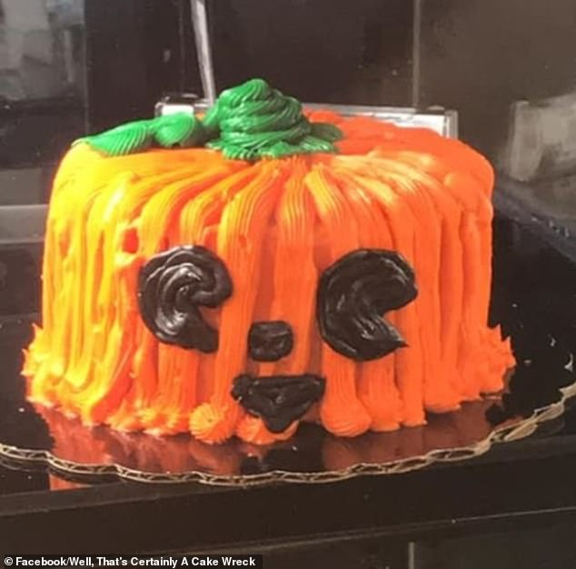 While this pumpkin-themed cake supposedly tasted just fine, the piping left a lot to be desired. The location of this photograph is unclear