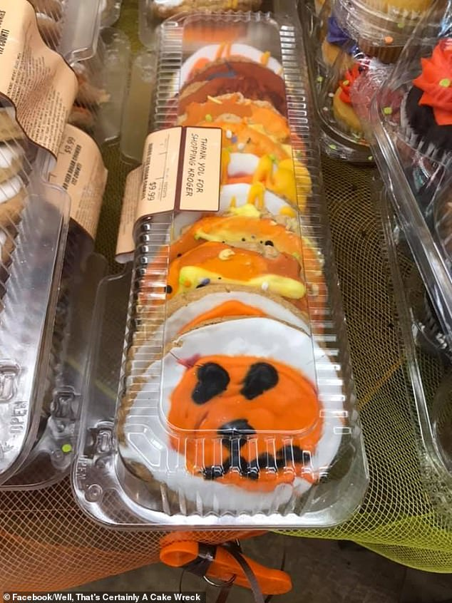 It isn't just cake that's being shamed in the run-up to Halloween, as these poorly decorated spooky biscuits were also shared on the Facebook group by an anonymous member