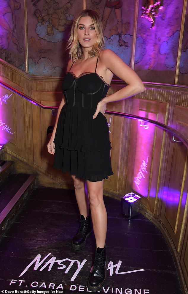 LBD:Ashley James kept things simple in a lace-trim black dress which had a caged bodice
