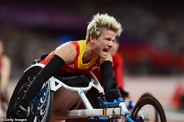 Marieke Vervoort (pictured streaking to victory at the London Paralympics in 2012), from Belgium, who stunned the world of sport when she won silver in a wheel chair race in the Rio games, had incurable degenerative spinal disease