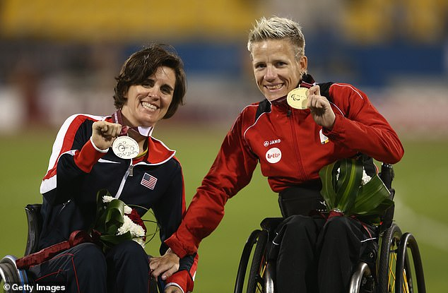 A statement from Diest - where she was from near Brussels - simply said Vervoort 'responded to her choice on Tuesday evening'. Pictured in Doha, Qatar, next to the US's Kerry Morgan in 2015 as taking gold