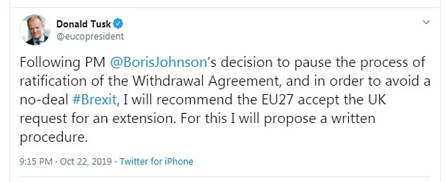 Donald Tusk tweeted this evening that he would recommend to European leaders to grant the UK a Brexit delay in order to avoid a No Deal split