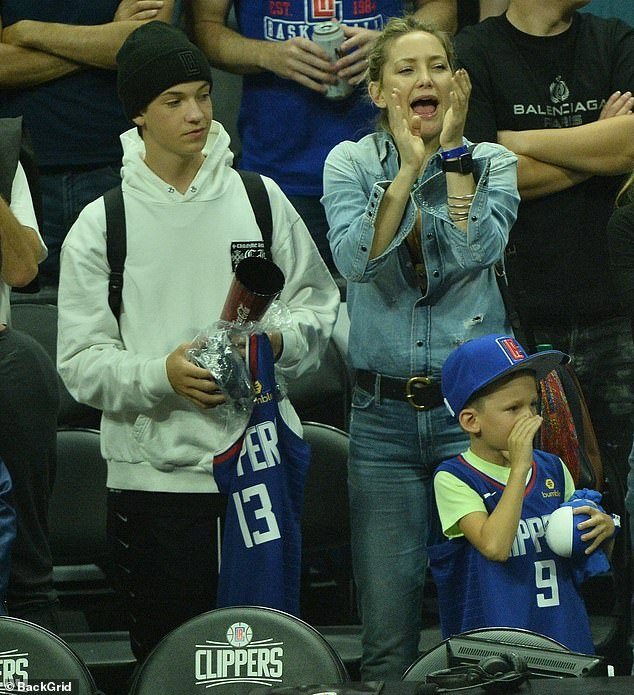 Go on Clippers! The actress was seen cheering on her team alongside her two boys