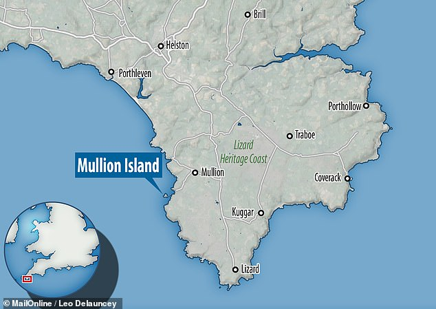 A Ilha Mullion, na Península Lizard, é um santuário para aves marinhas, incluindo grandes gaivotas-de-dorso-preto - a maior espécie de gaivota do mundo - gaivotas-prateadas, corvos-marinhos e felpudos