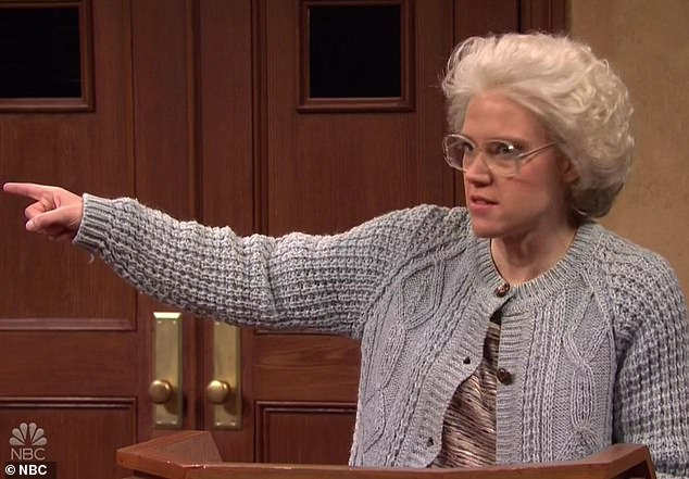 MVP: Kate McKinnon played elderly Gladys Feldman, who was suing her former live-in nurse, Apollo Benz [Momoa, wearing a fabulous leopard print shirt]