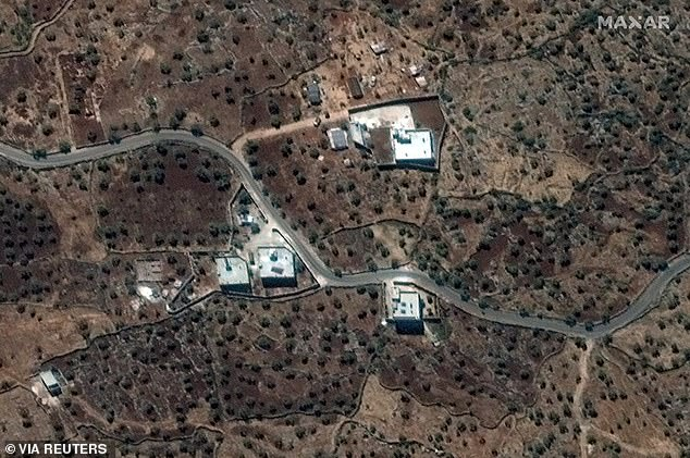 A satellite view of al-Baghdadi's compound near the village of Barisha in Syria pictured above